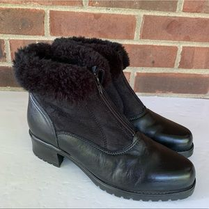 La Canadienne faux fur leather ankle boots booties